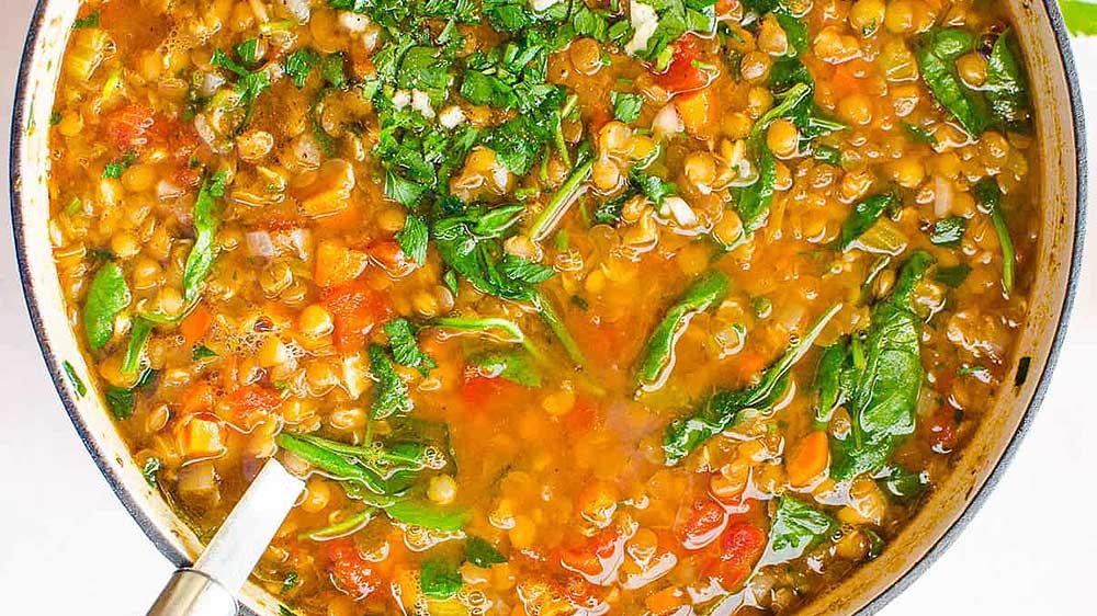 Vegetarian spinach lentil soup recipe https://organicgardeningeek.com